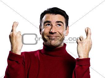 caucasian man finger crossed gesture