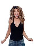 Beautiful screaming happy curly hair Woman