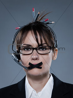business woman secretary gag with headset telephone