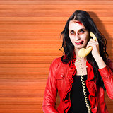 Zombie call centre worker cold calling on phone