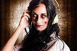 Hard rock zombie listening to death metal music