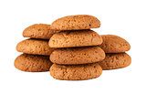 Fresh oatmeal cookies on white background