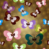Seamless pattern with green butterflies