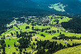 Aerial view of the village of Karersee, Dolomiti