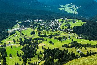 Aerial view of the village of Karersee, Dolomiti