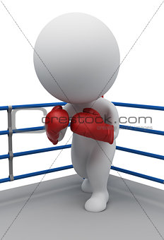 3d small people - boxer on a ring