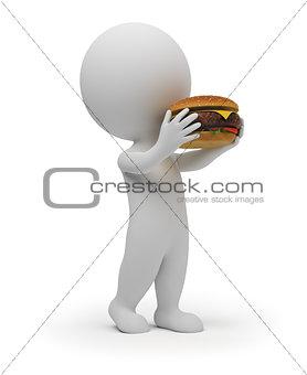 3d small people eats a hamburger
