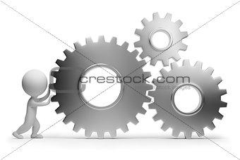 3d small people - rolls gears