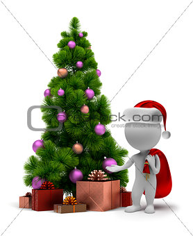 3d small people - Santa and a Christmas tree