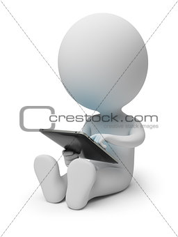 3d small people with tablet pc