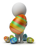 3d small people - holds an Easter egg
