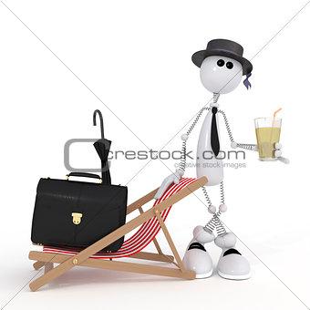 The 3D little businessman on a beach.