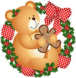 Christmas teddy bear with cookie in crown