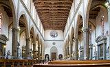Main nave of Basilica di Santa Croce. Florence, Italy