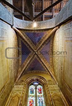 Ceiling of Velluti chapel in Basilica di Santa Croce. Florence, Italy