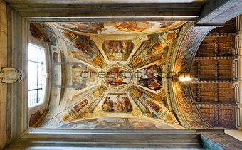 Ceiling of Giugni chapel in Basilica di Santa Croce. Florence, Italy