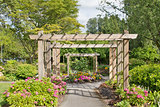 Wood Arbor Over Garden Path