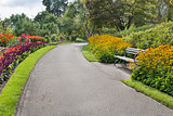 Neighborhood Parks Flowers Lined Path