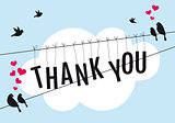 thank you with birds in the sky, vector
