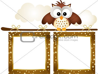 Frame with Owl and Clouds