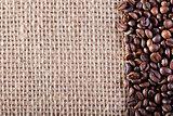 Coffee on burlap sack background