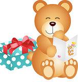 Teddy bear with birthday card and gift