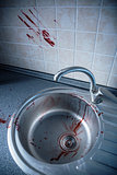 Bloody kitchen tile and washbasin