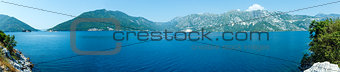 Bay of Kotor summer panorama with two islets, Montenegro
