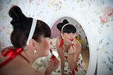 Woman near the mirror