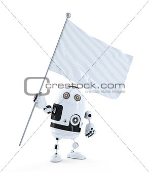 Android robot with white blank waving flag