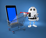 Android robot with shopping car