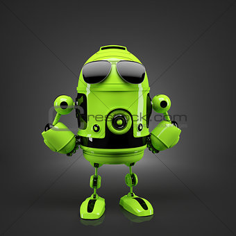 Android posing in sunglasses.