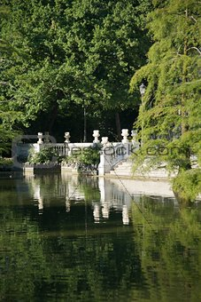 antique stairs over lake