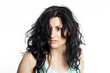 Brunette woman with disheveled hair