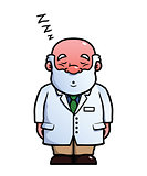 Scientist being asleep and snoring