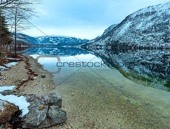 Alpine winter lake view