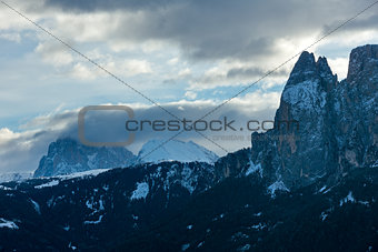 Predawn morning winter mountain landscape (Italy)