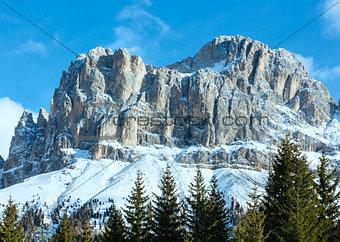 Beautiful winter rocky mountain landscape (Great Dolomites Road)