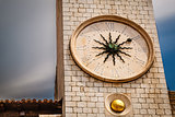 Sun Shaped Clock on Bell Tower in Dubrovnik, Croatia