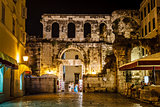 Diocletian Palace Silver Gate at Night, Split, Croatia