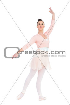 Calm attractive ballerina posing with an arm up