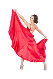 Smiling gorgeous woman dancing flamenco