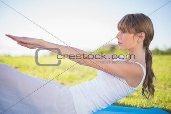 Natural young woman exercising