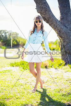 Pretty young woman wearing trendy clothes
