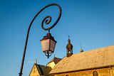 Street Lamp and Medieval Church in Megeve, French Alps
