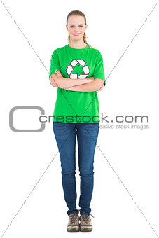 Pleased pretty environmental activist posing with crossed arms