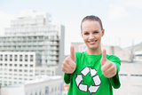 Content pretty environmental activist making thumbs up