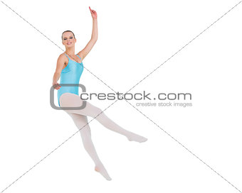 Pleased pretty ballerina jumping