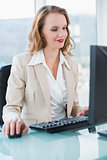 Smiling pretty businesswoman using a computer