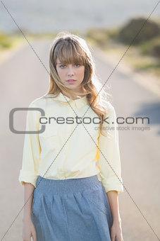 Hipster girl staring at camera